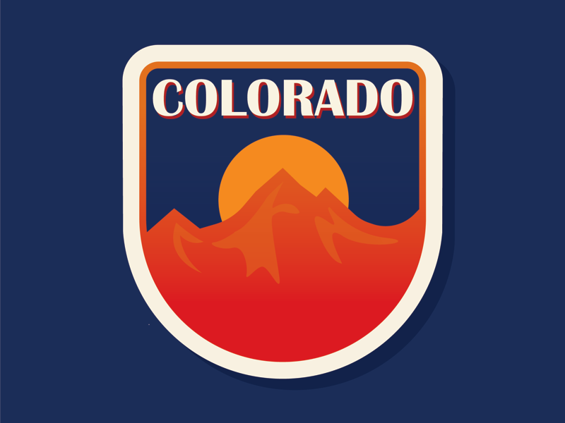 50 States   Colorado vector colorful logo badge patch sunset rocky mountains mountains colorado
