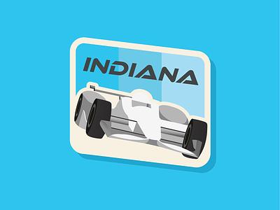 50 States | Indiana racecar travel usa illustration flat vector stamp patch badge branding icon logo
