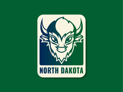 50 States | North Dakota north dakota buffalo bison simple flat vector illustration branding patch icon badge logo
