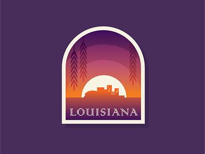 50 States | Louisiana flat sunset skyline louisiana nola new orleans illustration vector stamp patch icon badge logo