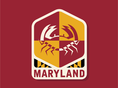 50 States | Maryland crab illustration simple vector flat maryland design branding patch icon badge logo