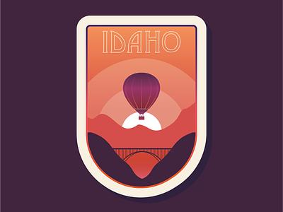 50 States | Idaho sunset sunrise hot air balloon vector flat simple america idaho branding patch badge icon logo