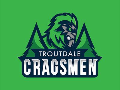 Troutdale Cragsmem Logo oregon team school sport trees branding icon logo sasquatch big foot