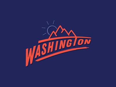 Washington design illustration typography iconography icon flat vector mountains logo usa washington