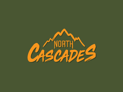 North Cascades National Park mountains simple flat brush lettering typography illustration icon logo national parks national park cascades north cascades