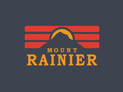 Mount Rainier badge national park mount rainier retro vector flat design branding icon patch badge logo