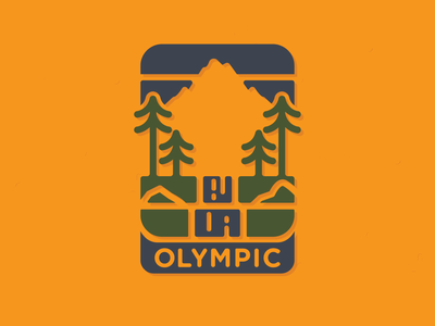 Olympic National Park Badge trees waterfall mountains vector flat simple logo icon badge patch washington olympic national park