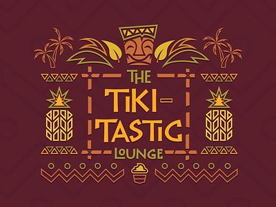 The Tiki-Tastic lounge beach palm trees ice cream hawaii hawaiian flat vector icon logo pineapple illustration tiki