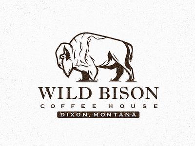 Wild Bison Coffee illustration coffee national park icon branding logo nature buffalo montana bison