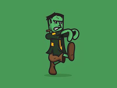 Frankenstein cute scary costume movie october monsters monster sticker vector illustration character frankenstein halloween