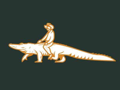 Man Riding Gator heat adventure walking design florida icon branding logo salsa cowboy alligator
