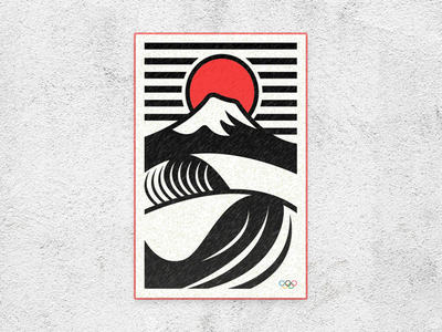 Olympics 2020 Mt. Fuji Surf branding simple flat vector 2020 olympics mountain mountains fuji japan surfing surf