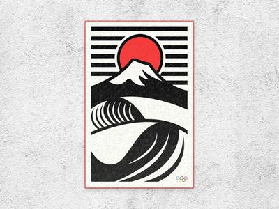 Olympics 2020 Mt. Fuji Surf branding simple flat vector 2020 olympics mountain mountains fuji japan surfing surf
