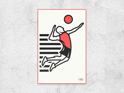 Olympics 2020 volleyball poster design branding sunset sunrise jump athletic athlete sports volleyball tokyo japan 2020 olympics