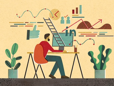 Workplace Benefits collage editorial illustration
