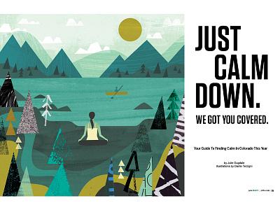 """""""Finding Calm"""" for 5280 (Denver mag) denver colorado landscape yoga calm editorial"""