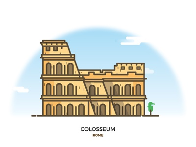 Colosseum minimal illustrations city monument italy rome colosseum