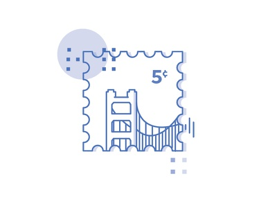 Stamp icon tech valley blue sf sanfrancisco minimal dollar imaginative stamp