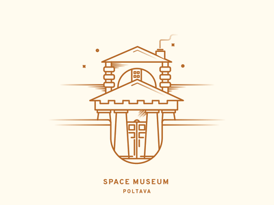 Space Museum simple lineart building minimal gradient monument icon museum space