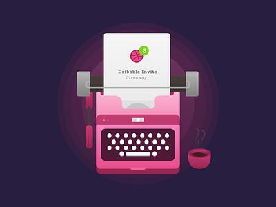 Dribbble Invites coffee typewriter draft invitation invites invite dribbble