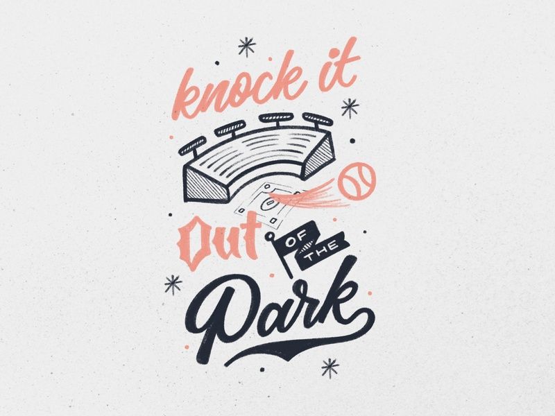 Knock it Out of the Park! sports baseball ipad lettering procreate hand lettering texture vintage design lettering