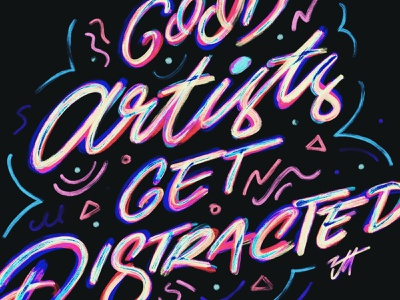 Get distracted today. ipad lettering typography procreate hand lettering texture design lettering