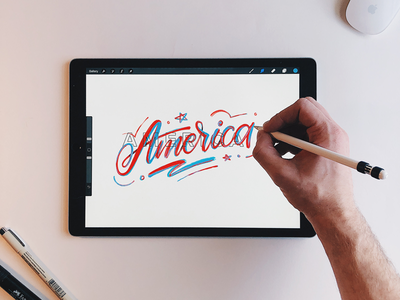 America red white and blue textures independence day 4th of july america hand lettering procreate ipad lettering lettering