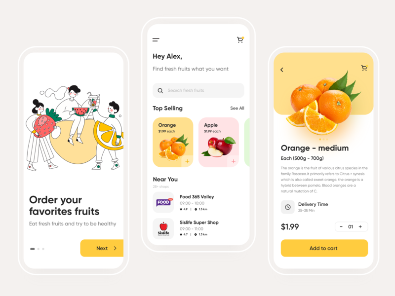 Groceries Shopping - Mobile App shopping app food and drink grocery online 2020 trend shop illustraion store grocery store e commerce fruit food app grocery app mobile app design application user experience app ux user interface ui