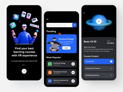 Online Courses - Mobile Application learning app learning platform educational 3d virtualreality course app e learning learning education app education 2020 trend minimal mobile app design application user experience app ux user interface ui