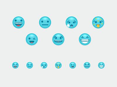 Emojis scared winking grinning ill happy sad