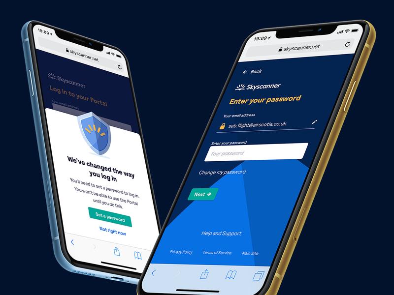 Partner Portal Login dark blue login form skyscanner b2b mobile login