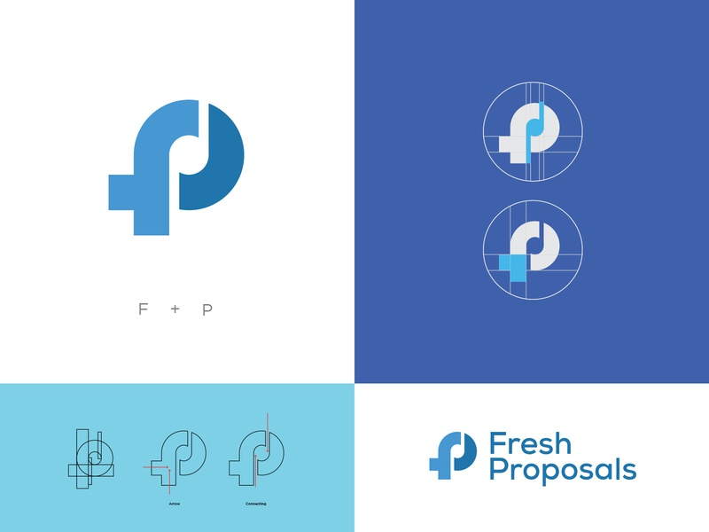 Brand Identity - Fresh Proposals vector ui typography type minimal lettering identity icon design flat character clean blue freelance logodesign brand identity concept branding identity design logo