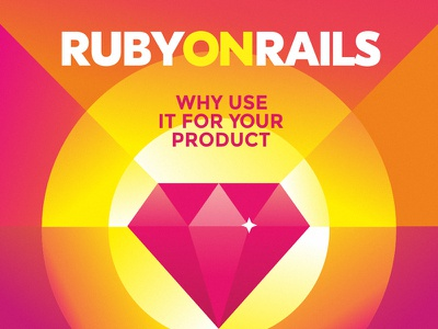 Ruby On Rails diamond design typography illustration flat gradient pink rails ruby on rails ruby