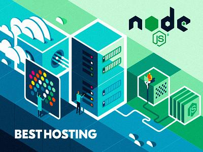 NODE.JS Hosting engineer gradient typography boxes clouds app design illustration flat server hosting node.js