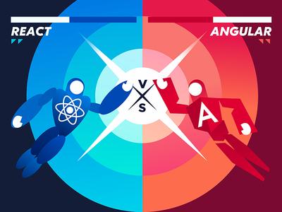 React Vs Angular character fighting versus vector gradient typography hero design illustration vs angular react