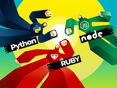 Python vs. Ruby vs. Node.js flat illustration design web gradient typography ruby node js node python heroes vector