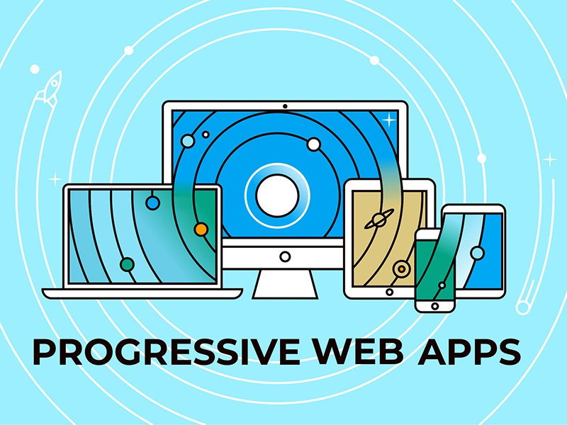 Progressive Web Apps macbook ipad tablet flat design iphone mac web app mobile progressive web vector