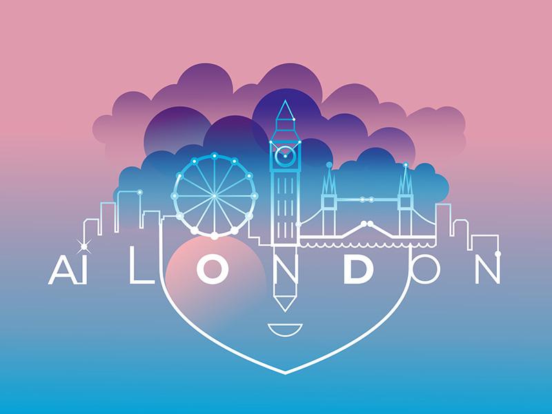 AI London lines face artificial intelligence flat design ai city web app mobile london vector