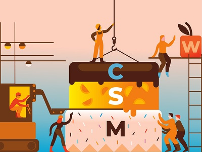 MoSCoW Method moscow city build construction cake web building typography illustration flat design vector