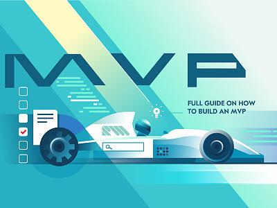 How to Build an MVP car f1 speed mvp idea web checklist search illustration flat design vector