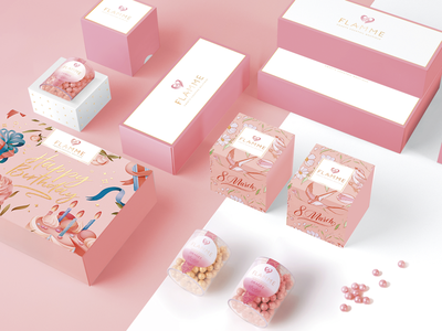 Flamme minimalism pink package sweets illustration