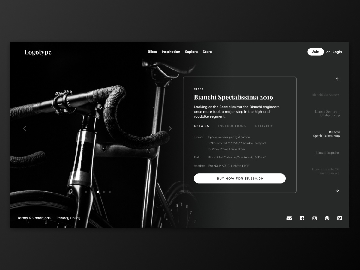 Bike Store Concept app design dark ui racer bike eshop ecommerce store website graphic design ui design ux uiux ui webdesign