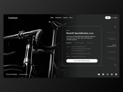 Bike Store Concept app design dark ui racer bike eshop ecommerce store website graphic design ui design ux uiux ui webdesign