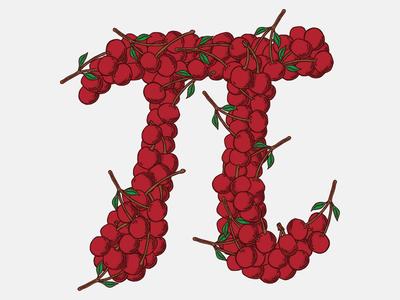 Cherry Pi pattern fruit pi illustration