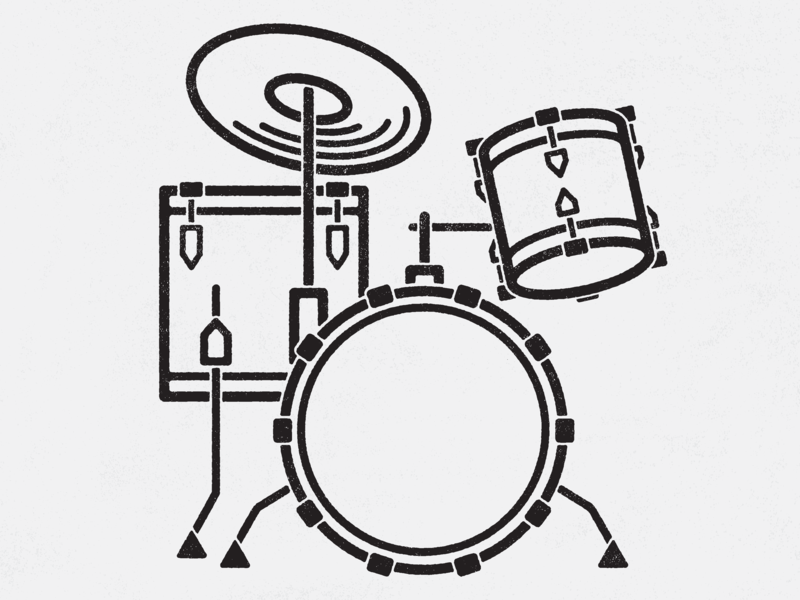 Classic Drumset simple vector illustration rock drums