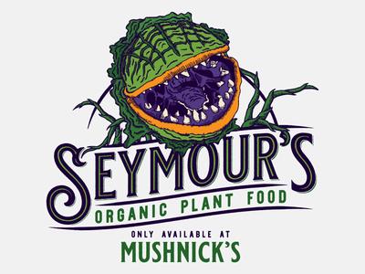 Seymour's Plant Food little shop of horrors illustration