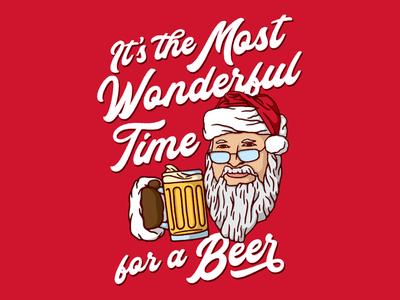 Most Wonderful Time for a Beer illustration holidays shirt funny beer santa