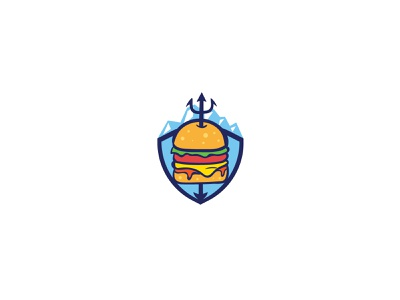 Atlantis Burger caricature character design illustration mascot branding vector logo brand