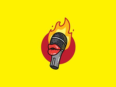 Hot Podcast Logo logoground character branding design vector logo brand