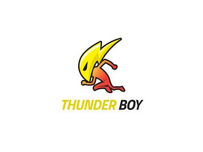 Thunder Boy boy caricature big strong power illustration character branding mascot design vector logo brand